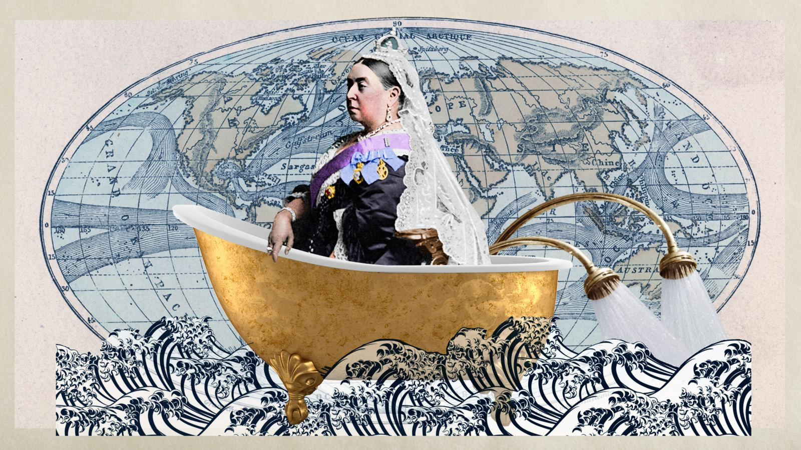 Queen Victoria in a bathtub. Image credit to BBC.